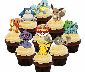Pokemon Birthday Party - 36 Edible Cupcake Toppers, Fairy Cake Decorations Go
