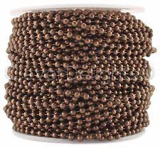 Ball Chain Roll - 30 Feet - Antique Copper Color - 2.4mm Ball #3 - Bulk Spool