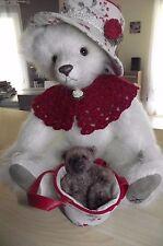 jolie et Rare, ourse tricotée de collection 34 cm et son BB ours.