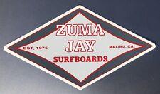 Genuine Zuma Jay Surfboard Malibu Southern California Surf Shop Sticker Red Gray