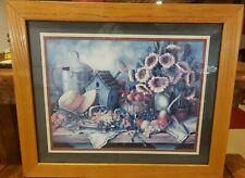 "Vintage Home Interior Barbara Felisky Sunflowers Birdhouse Fruit Pic 19"" x 23"""