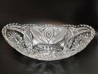 "Vintage LARGE 12"" Crystal Glass Bowl- Sunburst/Star/Saw Tooth Edge Dish-SALE!"