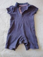 George Babygrow with short legs - Navy with stripes Size 9-12 mths (24 lb/11 Kg)