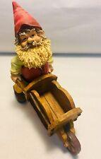 Garden Gnome Santa Wheelbarrow Corn Husk Beard Indoor Outdoor Decor Figurine.