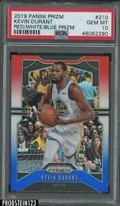 2019-20 Panini Red White Blue Prizm #210 Kevin Durant Warriors PSA 10