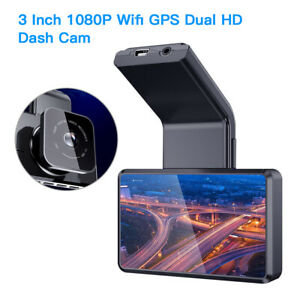 "3"" IPS 140FOV Dual Lens Wifi GPS Car Dash Cam Camcorder Loop Recroding G-Sensor"