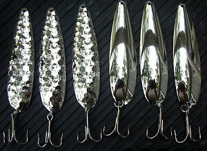"""4 3/4"""" HEX & SMOOTH  .025  Flutter Spoons  NICKEL  Walleye Candy Variety Pack"""