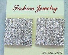 Fantastici 9 Fila Cristallo / Diamante Quadrati Orecchini 2.5 -2.8cm x 2.5-2.8