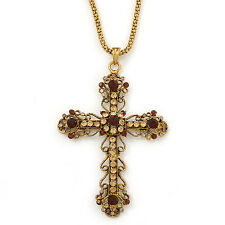 Large Topaz/ Amber Coloured Crystal, Filigree Cross Pendant With Thick Gold Tone