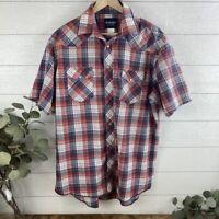 Wrangler Mens XL/XXL  S/S Pearl Snap Button Up Western Shirt Rancher Plaid Blue
