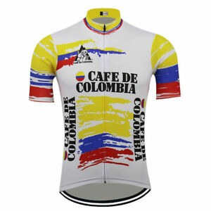 Cafe De Colombia Retro Vintage Cycling Jersey Short Sleeve Pro Clothing Bike