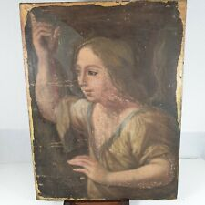 Antique Italian 18th Century Oil Portrait The Angel Annunciation For Restoration