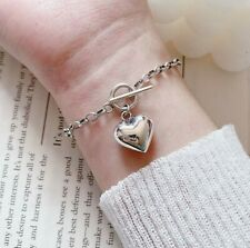 925 Sterling Silver Plated Bracelet Love Heart Pendant Chain Charm Chunky Link