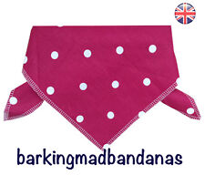 Dog Bandana Cotton Stars Spots UK Dog Clothes Pink Dog Neckerchief Dog Bandanas