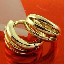 HUGGIE HOOP EARRINGS GENUINE REAL 18K YELLOW G/F GOLD SOLID BABY GIRLS DESIGN