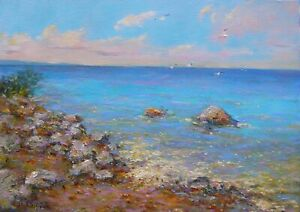 """L0718 Oil painting Canvas Board Signed Soviet Russian Landscape Small 9""""x13"""""""