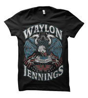 WAYLON JENNINGS LONESOME SINGER MUSIC BAND GUITAR CLASSIC BLACK T SHIRT S-3XL
