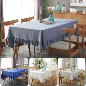 Washed Cotton Ins Ruffles Rectangle Table Cover Dinner Tablecloth Home Decor