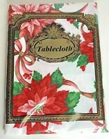 Vtg Christmas Tablecloth Poinsettia Oblong Rectangle 60 x 84 Polyester New NIP
