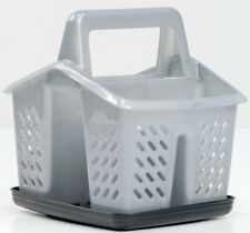 GREY Plastic 4 Compartment Sink Tidy Cutlery Drainer Caddy Organiser with Tray