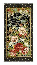 ZEN OASIS ORIENTAL GILDED BUTTERFLY FLORAL SOLD BY PANEL FABRIC FREE OZ POST**