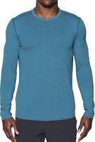 Under Armour Threadborne Knit Mens Running Top Blue Fitted Long Sleeve Jersey UA