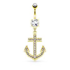 Piercing Ombelico Ancora Ciondolo 14 carato oro 585 Gioiello Cristallo SPINA