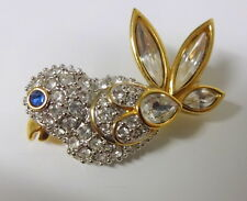Retired Exquisite Signed Swarowski Pave Crystal Bird Pin Brooch