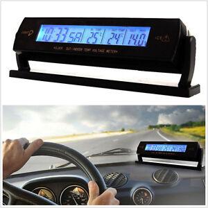 Car Portable Center Console Digital Temperature Voltage Clock LCD Monitor Kit