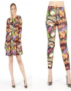 Long Sleeve Bang Boom Shock Print Women Ladies Swing Dress & Legging Size 8-22