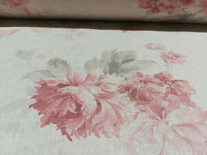 JANE French Faded Roses Floral Linen Fabric in RED | Double Width Curtains 280cm