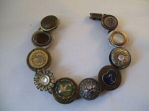 Vintage Stacked Button Bracelet Intaglio Duck Goose Anchor MOP Hand Made OOAK
