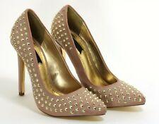415 Zapatos de Tacón Charol Mujer Elegante Tacones Altos Blink Rosa Remaches Oro