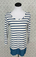 Womens Papermoon 3/4 Sleeve Blue White Striped Top Blouse Size Large Stitch Fix