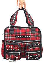 Jawbreaker Classic Red Royal Stewart Tartan Old School Studded Messenger Bag