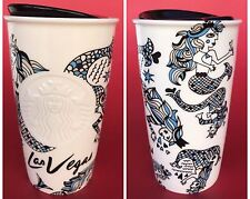 Starbucks Las Vegas Limited Edition Ceramic Mermaid Tumbler Travel Mug 12oz 2015