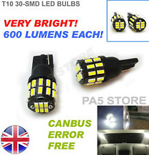 2x T10 LED White 30SMD Very Bright! T501 W5W CANBUS INTERIOR SIDE LIGHT BULBS UK