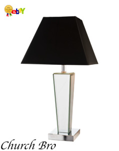 New Home Collection Glass Mirror Table Lamp Complete  With Black Shade