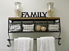 Black Metal & Wood Shelf with Baskets & 8 Hooks Shabby Chic Home Wall Decor New