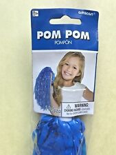 """Blue plastic cheerleader Pom Pom, 12"""" long + handle, Amscan, NEW, orig packaging"""