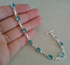 """NATURAL CUSHION BLUE SAPPHIRE 925 STERLING SILVER LINK CHAIN BRACELET 7.5/"""""""