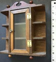 "8"" x 7"" Vtg Antique Miniature Dollhouse Wood Glass Curio Display Wall Cupboard"