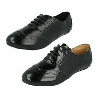 SALE LADIES SPOT ON BLACK SYNTHETIC FLAT LACE UP CASUAL BROGUE SHOES F8658