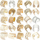 Woman Hollow Punk Gold/Silver Plated Wide Cuff Charm Bracelet Gift