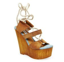 Steve Madden Women's Sailboat Chestnut Suede Platforms Heels Wedges Sandals
