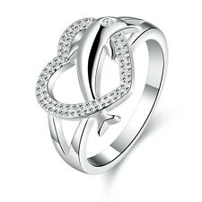 2017 Fashion 925 sterling Solid silver Dolphin heart rings size7 #P220