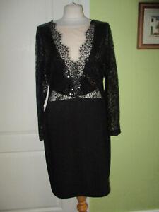 BNWT WAS£70 SIZE 16 LIPSY MICHELLE KEEGAN BLACK SEQUINNED PENCIL DRESS LACE TRIM