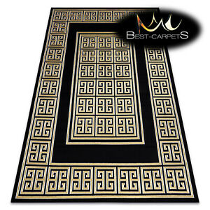 "Modern Stylish Rug ""GLOSS"" frame, glamour, greek black / gold Best Quality"