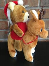 Vintage Musical Plush Christmas Bear On Rudolph The Red Nose Reindeer
