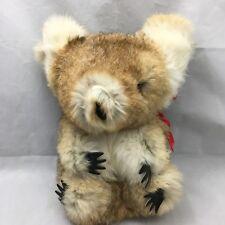 """Koala Bear Natural Fur Tan Brown White Australia Stuffed Plush 12"""" Toy Lovey"""